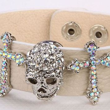 SHIPS FROM USA Black leather skull cross bracelet for women crystal adjustable bangle punk biker halloween jewelry LD03