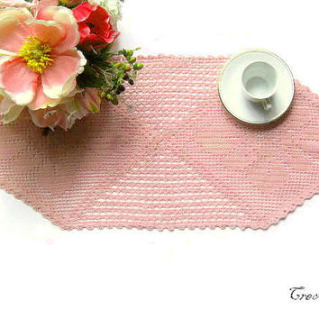Crochet Pink Doily, Hexagonal Doily, Table decorations, Crochet centerpiece, Centrino esagonale rosa (Cod. 19)