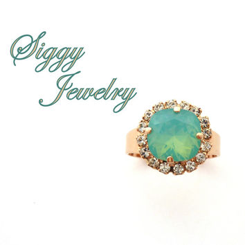 Swarovski Crystal Adjustable Halo Ring, Cushion Cut Pacific Opal, Clear Halo, Cocktail Ring, Rose Gold Finish, Siggy Jewelry, FREE SHIPPING