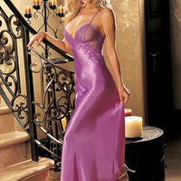 Purple Crochet Lace Strappy Maxi Dress with Mesh Accent