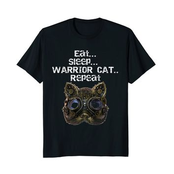 Eat Sleep Warrior Cat Repeat Funny Cats Lover T-Shirt