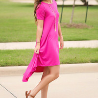 Hi-Lo Day Dress-Fuchsia
