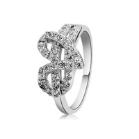 AR010 925 Silver Plated Crystal Heart Design Ring (Silver) Sz 9