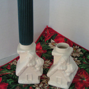 Santa Candle Stick Holder, Vintage Pair, Santa is Holding onto Roof for dear life!