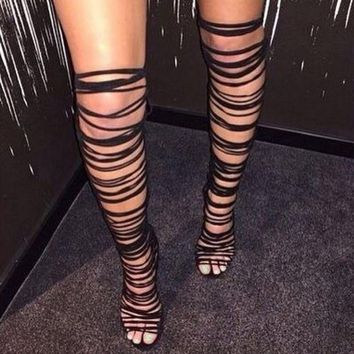 Women Lace Up Strappy Knee High Boots Gladiator Roman Sandals Open Toe Cut Out Tassel