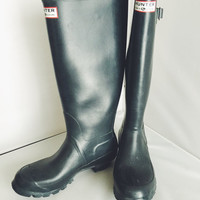 Vintage Hunter Wellies Rubber Rain Boots Tall British Hunter Wellingtons Black US Womens Size 7.5