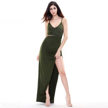 Army Green Long Maxi Slit Dress
