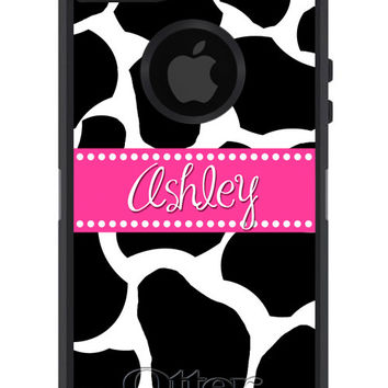 OTTERBOX DEFENDER iPhone 6 5 5S 5C 4/4S iPod Touch 5G Case Custom Black Giraffe Hot Pink Name Band Dot - Monogram Personalized