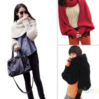 Women Solid Scarf With Sleeve Crochet Knit Long Soft Wrap Shawl Scarves = 1957827268