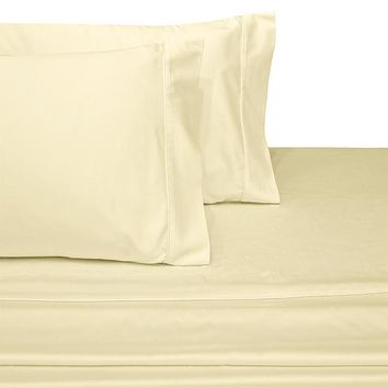 Super Single IVORY Waterbed Attached Sheets Solid 100% Combed cotton 300 Thread count