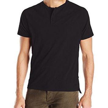Kenneth Cole New York Men's Dressy Slub Henley Shirt, Black, Medium