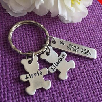 Father's Day Gift - Dad Gift - Dad Keychain - We love you beary much - Gift for Dad - Gift for Grandpa - Personalized Keychain - Custom Key