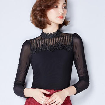 lace mesh stitching lace tops women clothing Slim fashion women clothing long sleeve embroidery hollow out blouse shirt M-3XL