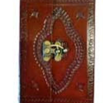 Embossed Leather Covered Scroll-Work Journal with Latch