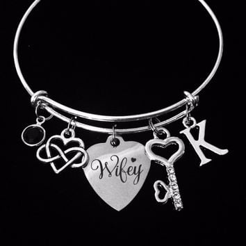 Personalized Wife Jewelry Expandable Charm Bracelet Wifey Infinity Symbol Forever Love Adjustable Silver Bangle One Size Fits All Gift