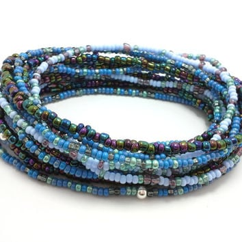 Seed bead wrap stretch bracelets, stacking, beaded, boho anklet, bohemian, stretchy stackable multi strand, blue teal green aqua metallic