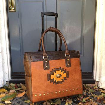 "The ""SANTA FE"" Rolling iPad, Tablet or Laptop Tote Briefcase or Carryall Bag with Spinner Wheels"