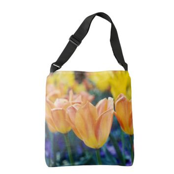 Tulips Peach Yellow & Purple Floral Tote Bag
