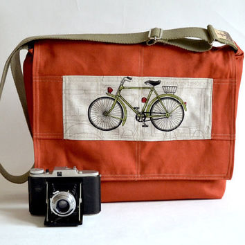 Large Canvas Messenger  bag 17  Laptop bag UNISEX Brick by ikabags
