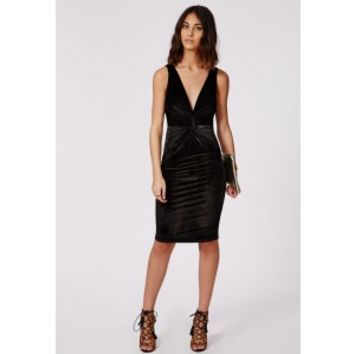 Missguided - Valerie Velvet Strappy Deep V Ruche Midi Dress Black