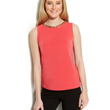 Calvin Klein Chain-Necklace Shell Top