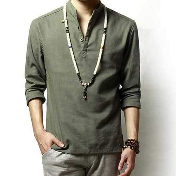 Chinese Style Cotton Linen T Shirts