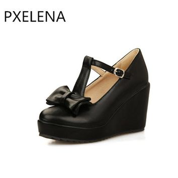 PXELENA 2018 Spring Shoes Hot Sale Womens Sweet Mary Jane Round Toe Bowknot T-Bar Wedge High Heel Lolita Pump Shoes US4.5-8