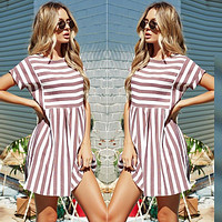 2019 Summer Fashion Women Boho Beach Dress Casual Short Sleeve O-Neck Loose Dresses Elegant Pink Blue Striped Female Vestidos