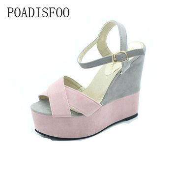 POADISFOO 2017 Classic women high quality sandals for lady sexy fish head platform san