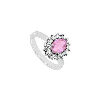 Pink Topaz and Diamond Ring : 14K White Gold - 1.50 CT TGW