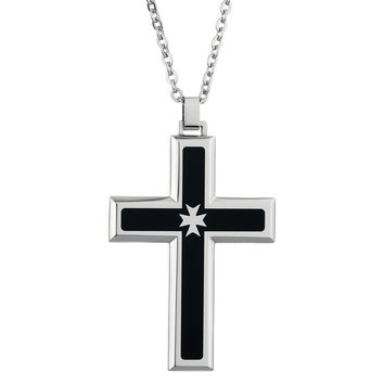 "Metro Jewelry Stainless Steel Pendant Black IP Maltese Cross Accent 22"" Chain"
