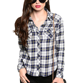 Fitted Long Sleeve Button Down Plaid Shirt
