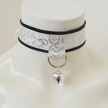 Kitten play collar - The Lilium - black white and silver bdsm proof - cute elegant victorian neko girl lolita choker - leash ring and bell
