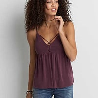 AEO Soft & Sexy Sueded Peplum Tank , Burgundy