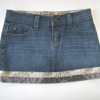 SALE, Denim Jeans Mini Skirt, Woman's Clothing, Hipster, Woman's Accessory, Bandana hem design