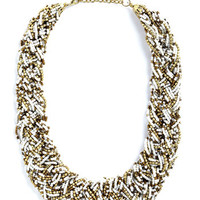ModCloth Statement Glitz Mob Necklace in White