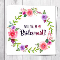 Bridesmaid Card Printable, Will You Be My Bridesmaid, Wedding, Pink Flowers, Boho, Bohemian Wedding, Flower Greeting Card, Wreath, Peony