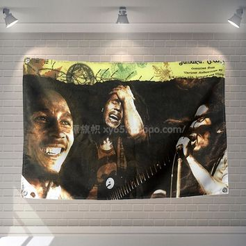 Bob Marley Rock Band Music Poster Banners Hanging Pictures Art Waterproof Cloth Music Festival Banquet Party Party Home Decor