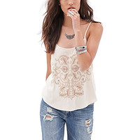 FOREVER 21 Abstract Embroidered Cami Cream/Taupe