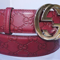 New Gucci Mens Red Belt GG Logo Size 38 95 Unisex Signature Leather