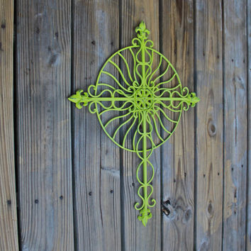 Lime Green Metal Wall Fixture/ Bright Patio Decor/ Indoor/ Outdoor Living