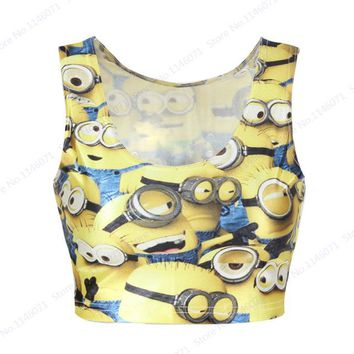 Running Vests Jogging Yellow Minion Sports Camisole Many Minions  Bustier Crop Top Fitness Bare Midriff Tank Top Femininos Bottoming Tops KO_11_1
