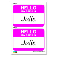 Julie Hello My Name Is - Sheet of 2 Stickers