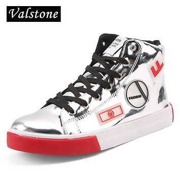 Valstone 2018 Men's leather casual shoes hip hop Gold fashion sneakers silver microfiber high tops Male Vulcanized shoes size 46