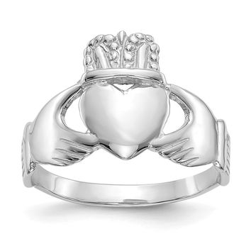 14K White Gold Ladies Claddagh Ring