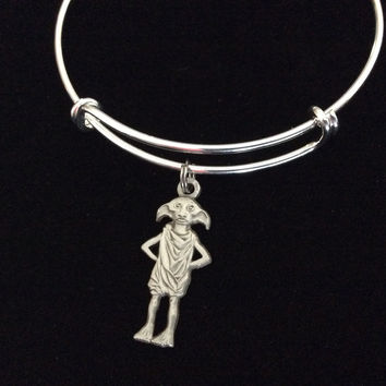 House Elf Charm Silver Plated Bracelet Expandable Adjustable Wire Bangle Handmade USA Gift Trendy