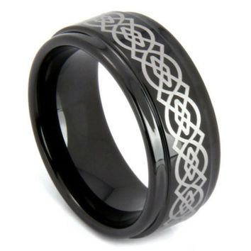 8mm Black Celtic Tungsten Wedding Ring With Silver Celtic Design