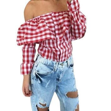 Sexy Off Shoulder Blouse Women Plaid Top Long Sleeve Blouse Ladies Casual Tops White Red Pink Shirt