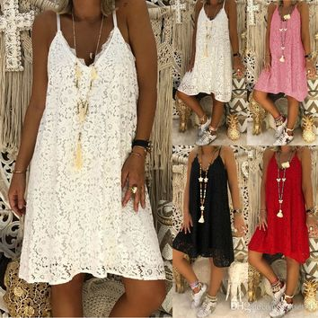 Women Summer Solid Color Sleeveless V-neck Sling flower Lace lady casual swing Loose 5XL mini Dress