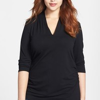 Plus Size Women's Vince Camuto Pleated V-Neck Top
